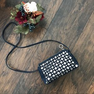 Nine West retro denim silver studded crossbody bag